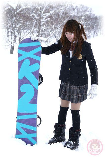 School girl Haruka has a K2 snowboard