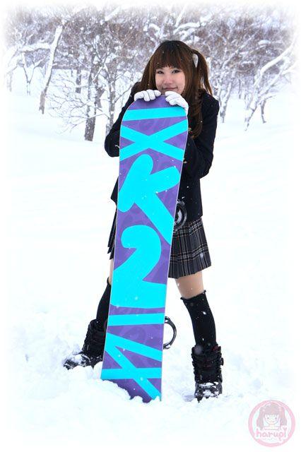 School girl Haruka X K2 snowboard