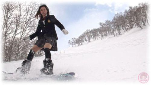 School girl Haruka snowboarding 1