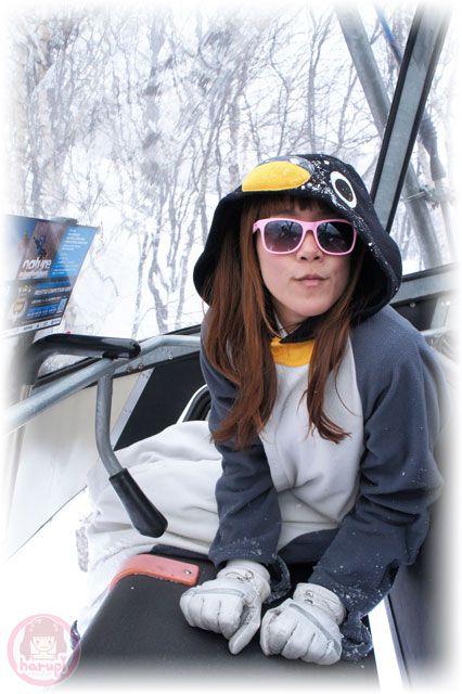 Snowboard Pengin on chair lift