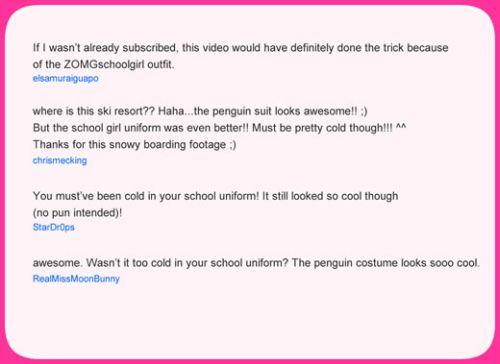 Comments on schoolgirl Haruka