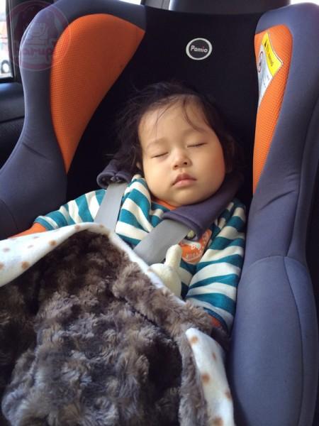 Little-big-boss sleeping in the car on the way to Niseko