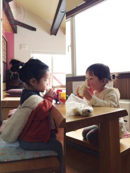 Little-big-boss and Yuki-chan eating breakfast
