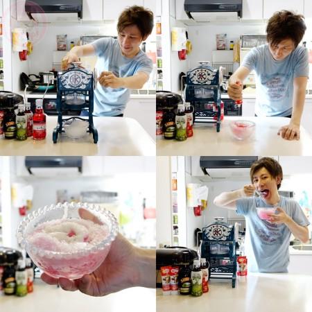 Yasupi papa cooling with DIY shaved ice!
